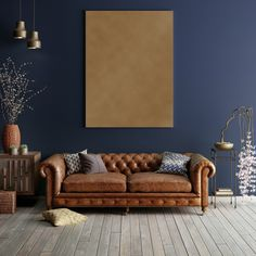 Gold and Midnight Sapphire paint for only at The Range have just what you need to decorate your room in just the… Manly Living Room, Elegant Living Room, Living Room Grey, Formal Living Rooms, Living Room Decor, Blue And Copper Living Room, Room Colors, House Colors, Dark Blue Feature Wall