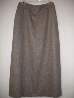Ann Taylor Size 6 Brown Tweed Mid Calf Wool Blend Lined Women Career Skirt #AnnTaylor #Skirt