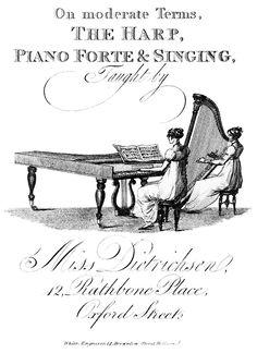 Regency advertisement for music lessons.