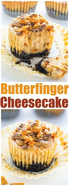 Mini Peanut Butter Butterfinger Cheesecakes - Baker by Nature - Incredibly delicious Mini PEANUT BUTTER Butterfinger Cheesecakes! Mini Desserts, Desserts Keto, Mini Cheesecake Recipes, Cheesecake Cups, Just Desserts, Dessert Recipes, Plated Desserts, Baking Recipes, Raspberry Cheesecake