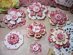 MME Miss Caroline Pink Paper Embellishments and Paper Flowers for Scrapbook Layouts Cards Tags Mini Albums and Paper Crafts