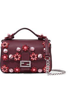 Fendi | Double Baguette micro appliquéd leather shoulder bag | NET-A-PORTER.COM
