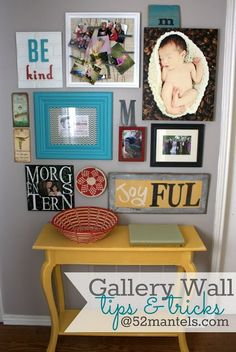 I love this colorful gallery wall - 52 Mantels: Gallery Wall Details {from my Hallway Makeover! Inspiration Wall, Photo Displays, Home Projects, Fall Projects, Craft Projects, Wall Collage, Wall Art, Diy Home Decor, Sweet Home