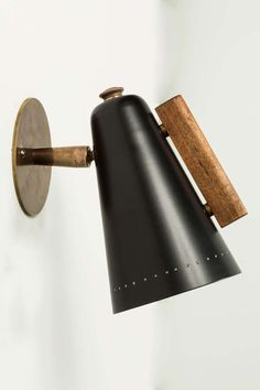 Anonymous; Enameled Metal, Brass and Wood Wall Light by Stiffel, 1950s.