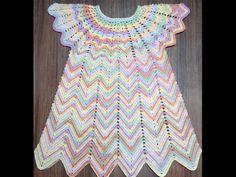 Летнее цветное платье 3-5 лет. 1 часть. Кокетка. Knit a beautiful dress hook. - YouTube