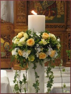 By Renee's Candles – Wedding Candles Ideas Vintage Flower Arrangements, Artificial Floral Arrangements, Church Flower Arrangements, Beautiful Flower Arrangements, Church Altar Decorations, Church Candles, Church Wedding Flowers, Altar Flowers, Art Floral