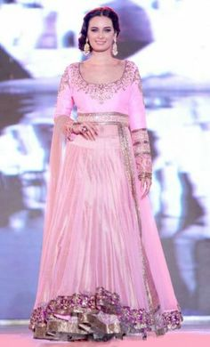 Evelyn Sharma Lehenga At Save Girl Child Fashion Show, baby pink anarkali floor length lehenga suits her perfectly being a fresh talent in Bollywood.