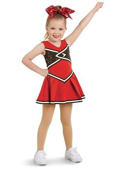 Cheerleader costume made of knit polyester with sequin spandex insets on the bodice Striped trim on the bodice and skirt Zipper in back Attached briefs Glitter free!