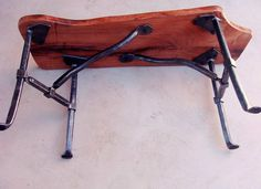 Mesquite Bench with Forged Iron Legs