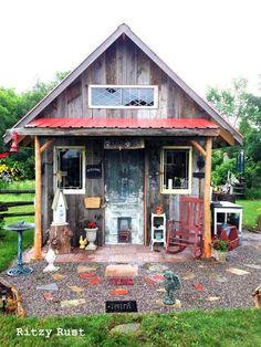 Funky Junk Garden Shed Decor   one little ritzy junk shed