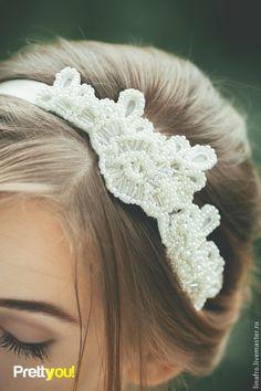 Повязочка кружевная свадебная, в прическу невесте. Handmade.