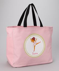 Look what I found on #zulily! Pink Black-Haired Ballerina Personalized Tote by Preppy Mama #zulilyfinds