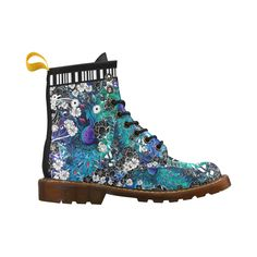 Peacock Flower Scroll Stripe Print Leather Marten Boot Leather Martin Boots For Women Model 402H