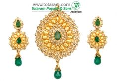 Buy 22K Gold Uncut Diamond Pendant & Drop Earrings Set with Emerald - DPS069 with a list price of $1,822.99 - 22K Indian Gold Jewelry from Totaram Jewelers