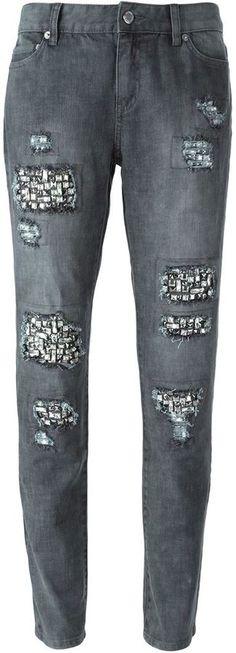 Michael Michael Kors rhinestone embellished slim jeans