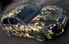 Audi S3 with printed camo wrap