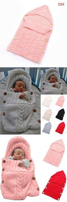 Colorful Newborn Baby Wrap Swaddle Blanket, Oenbopo Baby Kids Toddler Wool Knit Blanket Swaddle Sleeping Bag Sleep Sack Stroller Wrap for 0-12 Month Baby (Pink)