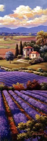 Sung Kim - Fields Of Lavender I fine art preproduction . Explore our collection of Sung Kim fine art prints, giclees, posters and hand crafted canvas products Watercolor Landscape, Landscape Art, Landscape Paintings, Watercolor Paintings, Art Abstrait, Beautiful Paintings, Painting Inspiration, Painting & Drawing, Art Drawings