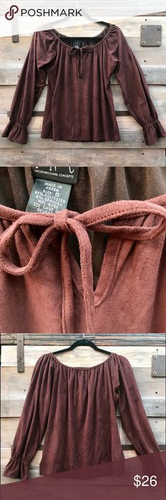 fdd5a4f9a01 INC Brown Bohemian Size Small Suede-Like Top INC Bohemian Style Long Sleeve  Top Tie