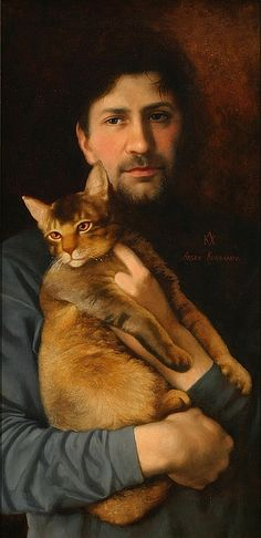 Portrait with Cat by Arsen Kurbanov - Oil on canvas. (undated)