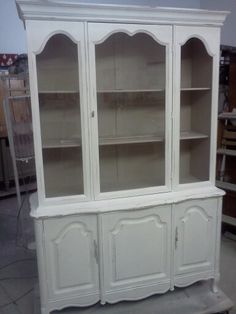 #vintagefurniture #paintedfurniture #shabbychic #custompainting #frenchprovincial #frenchcountry #bed vintage painted and distressed French provincial shabby chic china cabinet