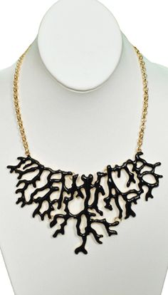 Coral Tree Necklace in black