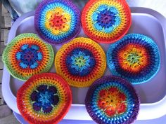 I love these colors used on these crocheted mandalas