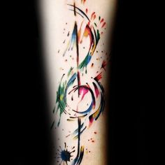 Colorful Guys Music Note Forearm Tattoos With Watercolor Design
