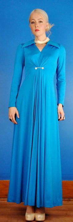 Estevez Vintage 70s Electric Blue Goddess Draped Maxi Party Dress with Rhinestones
