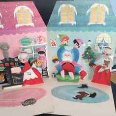 Hallmark A Visit To Santa Land Pop Up Card Vintage Japan Christmas 1960's Paper  One card - open it up and up points 4 scenes!