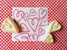 love heart rubber stamps. love hand carved rubber por talktothesun