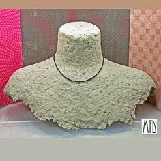 papier mache necklace bust display