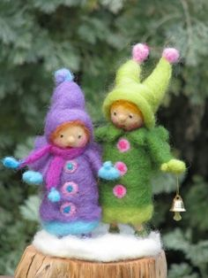 Two Christmas elves, needle felted home decor