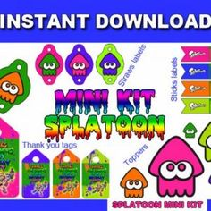 SPLATOON Mini Party Kit Printable in English. Instant download!