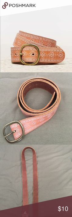 "AEO Women's Distressed Stamped Leather Belt EUC. ~45"" long. Barely worn. Can fit sz 12/14. Stock cover photo. American Eagle Outfitters Accessories Belts"