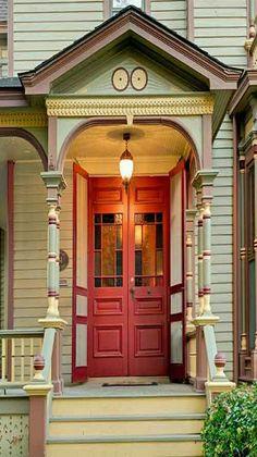 Inviting orange front door.                                                                                                                                                                                 More
