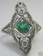 Antique Colombian Emerald Diamond Engagement Ring Solitaire Platinum Art Deco