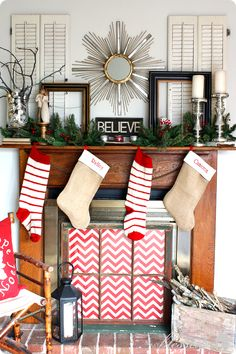 I LOVE her site and LOVE her mantels each new season. Collected Christmas Mantel | MyBlessedLife.net