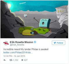 Rosetta's lander Philae wakes up from hibernation | Esa said Philae had contacted Earth, via Rosetta, for 85 seconds on Saturday in the first contact since going into hibernation in November. [Asteroid Mining: http://futuristicnews.com/tag/asteroid/]