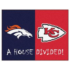 And the rivalry goes on keeping the house divided. Get ready for the biggest game of the year with the Denver Broncos vs Kansas City Chiefs house divided area rug. Both durable and attractive the house divided rug features a nylon face carpet wit. Nfl Steelers, Nfl Kansas City Chiefs, Nfl Dallas Cowboys, Denver Broncos, Nfl Football, Broncos Gear, Broncos Logo, Baseball
