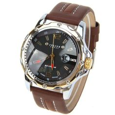 Julius Quartz Watch with Numbers and Strips Indicate Leather Watchband for Men