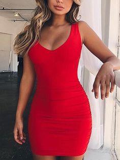 Low Cut Shirring Open Back Bodycon Dress