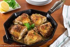 Roasted Lemon Pepper Herb Chicken Thighs with Lemon Wine Pan Sauce Lemon Pepper Chicken, Chicken Stuffed Peppers, Chicken Thigh Recipes, Entree Recipes, Chicken Thighs, Tandoori Chicken, Herb, Main Dishes, Roast
