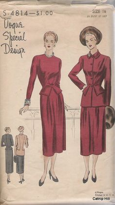 Vogue S4814 Size 16 Special Design Dress and Jacket by CatnipHill, $50.00