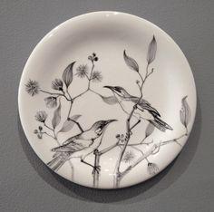 Sarah O'Sullivan :: Honeyeaters - handpainted porcelain, diameter 26cm 2012 :: http://www.sarahosullivan.com.au