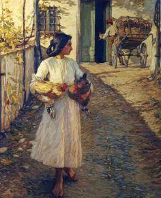 Selling Chickens in Liguria by Henry Herbert La Thangue, Walker Art Gallery A4 Poster, Poster Prints, Art Prints, Irish Painters, Walker Art, Art Database, Realism Art, Art Uk, Vintage Artwork