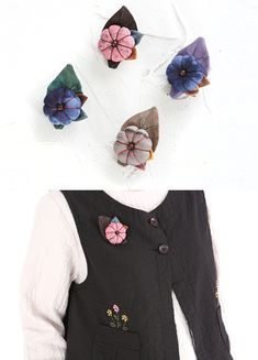 엄마옷,엄마선물,40대여성의류,50대여성의류,생활한복,법복,한복,신상7%할인 Fabric Flower Brooch, Fabric Flowers, Fabric Decor, Fabric Crafts, Music Crafts, Landscape Quilts, Thread Jewellery, Shabby Flowers, Fabric Ribbon