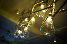 LED filament light bulbs glass tubes - only at The Alchemist. Get your vintage lights from Bright Goods.