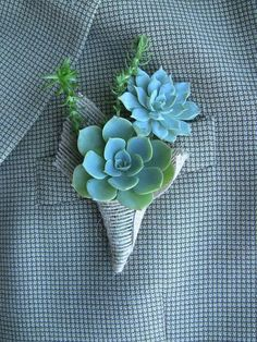 Blue Greens - Unique Boutonnieres for the Groom - Photos