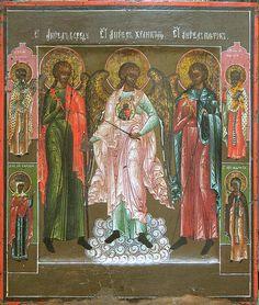 Ангел в середу, Ангел в пяток и Ангел-ХранительСтарообрядческий образ 19 века Возможно клеймо из Похождений